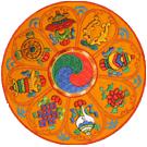 Round Mat Embroidered with 8 Auspicious Symbols