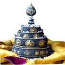 "Mandala Offering Set  Dark Copper 6.5""- Gold Plating"