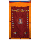 Lined Door Curtain with Kalachakra Symbol Embroidered